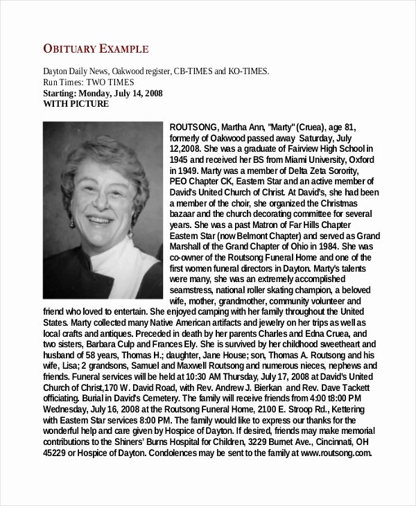 Obituary Sample for Mother Fresh 9 Obituary Examples Download In Word Pdf Psd