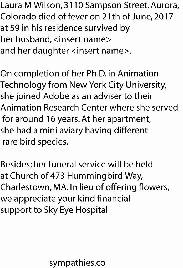 Obituary Sample for Mother Fresh Best Obituary Examples and Free Templates format for Newspaper