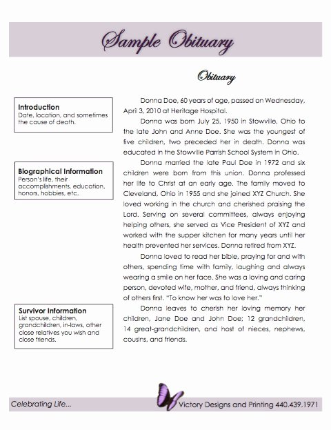 Obituary Sample for Mother Inspirational 25 Free Obituary Templates and Samples Free Template Downloads
