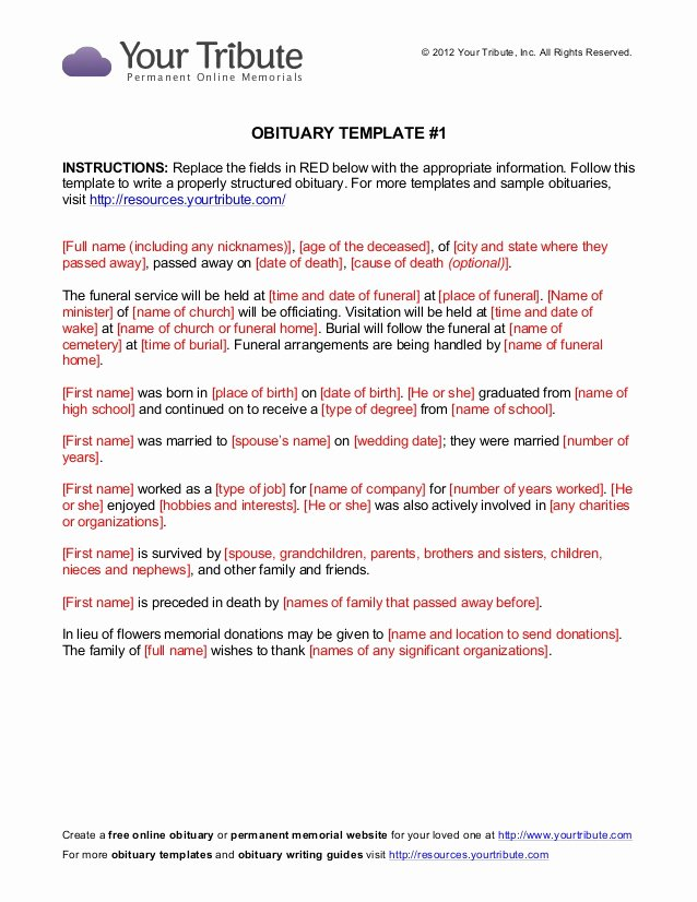 Obituary Sample for Mother Luxury Free Obituary Template Yourtribute