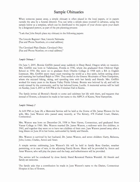 Obituary Sample for Mother New 25 Obituary Templates and Samples Template Lab