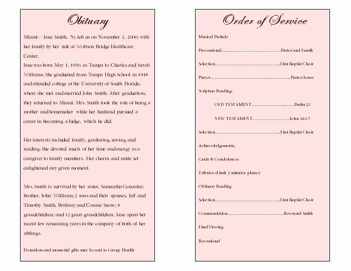 Obituary Sample for Mother Unique Floral Art Single Fold Memorial Program Funeral Pamphlets