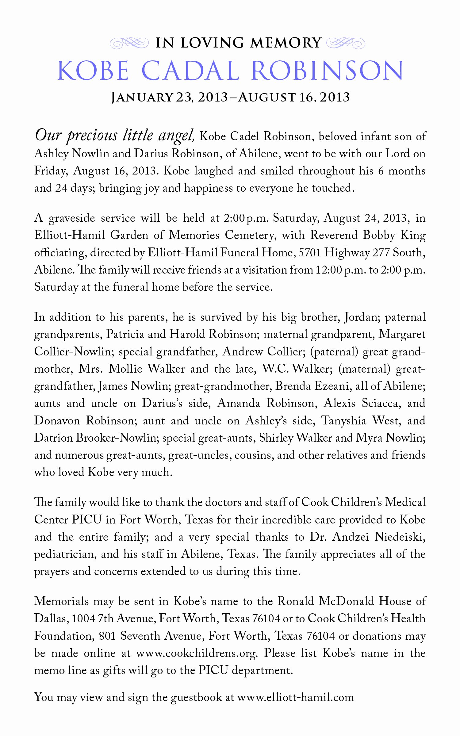 Obituary Sample for Mother Unique Sample Infant Obituaries