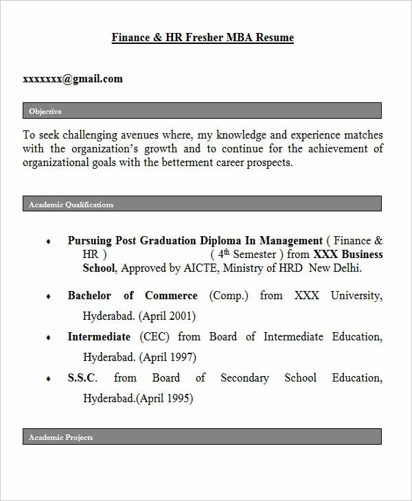 Objective for Resume for Freshers Awesome 28 Free Fresher Resume Templates