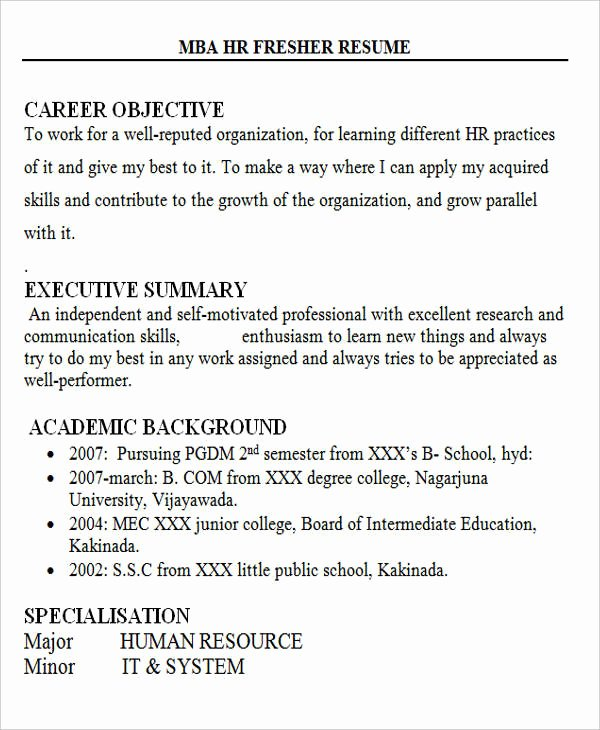 Objective for Resume for Freshers Best Of Sample Resume Hr Executive Freshers