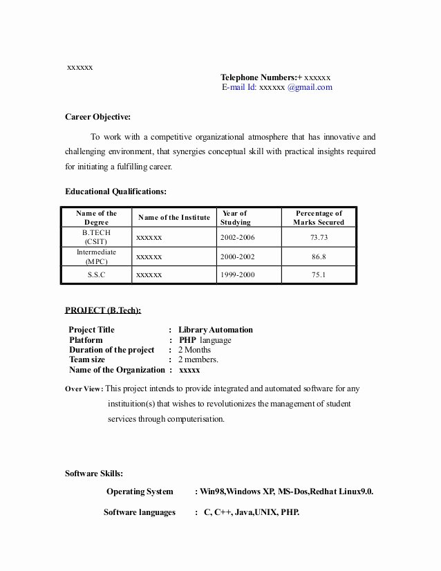 Objective for Resume for Freshers Fresh Fresher Resume Sample13 by Babasab Patil