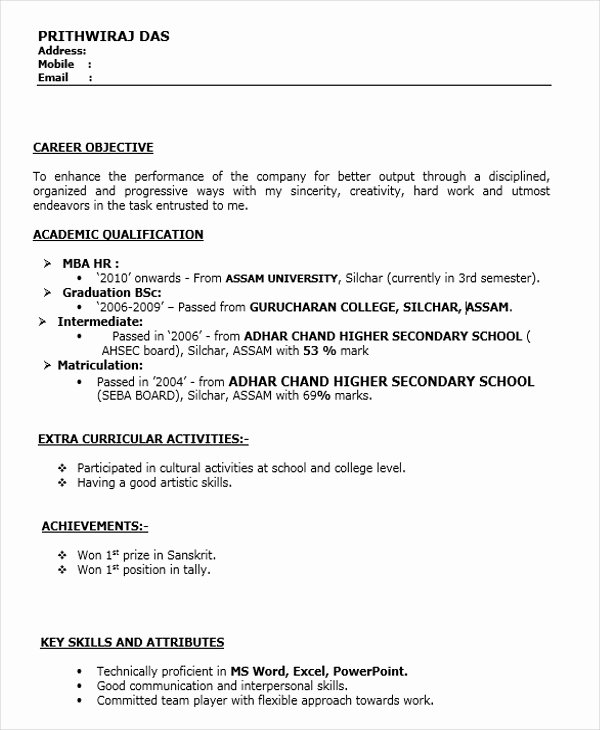 Objective for Resume for Freshers New 45 Fresher Resume Templates Pdf Doc