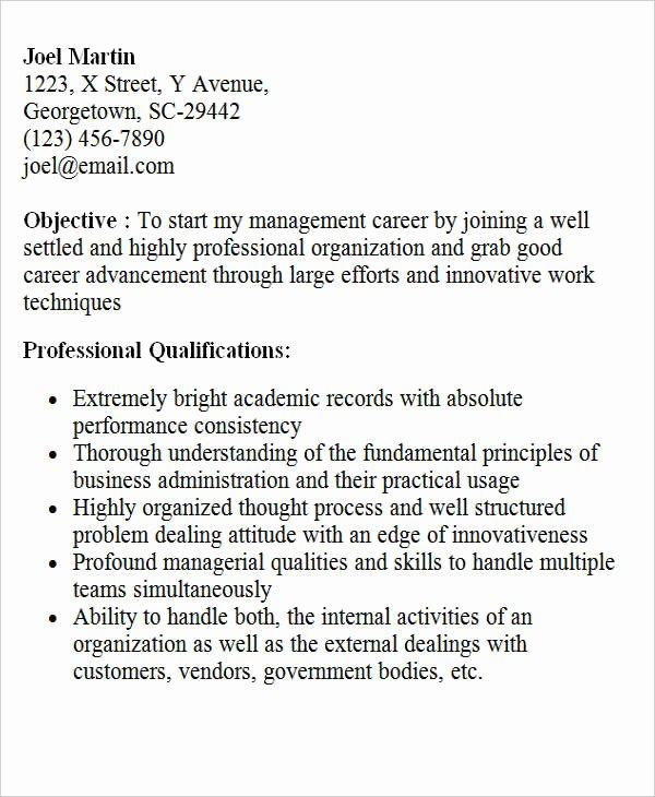 Objective for Resume for Freshers Unique 28 Free Fresher Resume Templates