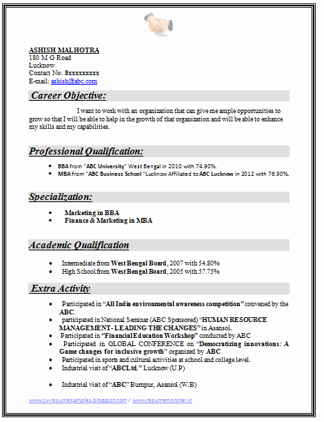 Objective for Resume for Freshers Unique Over Cv and Resume Samples with Free Download Mba Best Resume