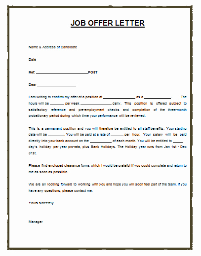 Offer Letter for Contract Employee Awesome Much Like the Job or Employment Agreement A Job Offer Letter Template is A formal Letter Sent