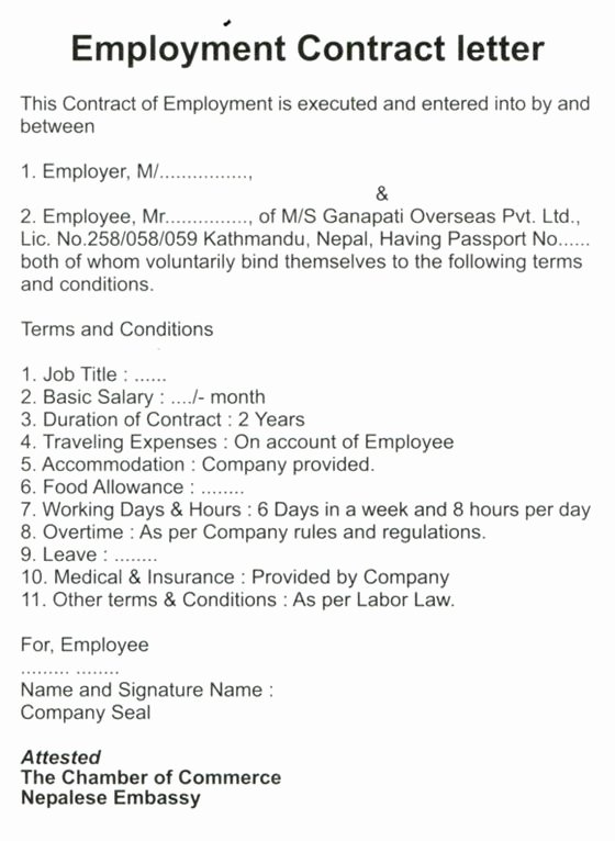 Offer Letter for Contract Employee Fresh Letter Of Employment Contract Platinum Class Limousine Answers