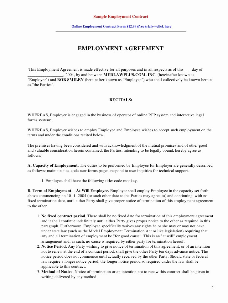 Offer Letter for Contract Employee New Sample Employment Contract
