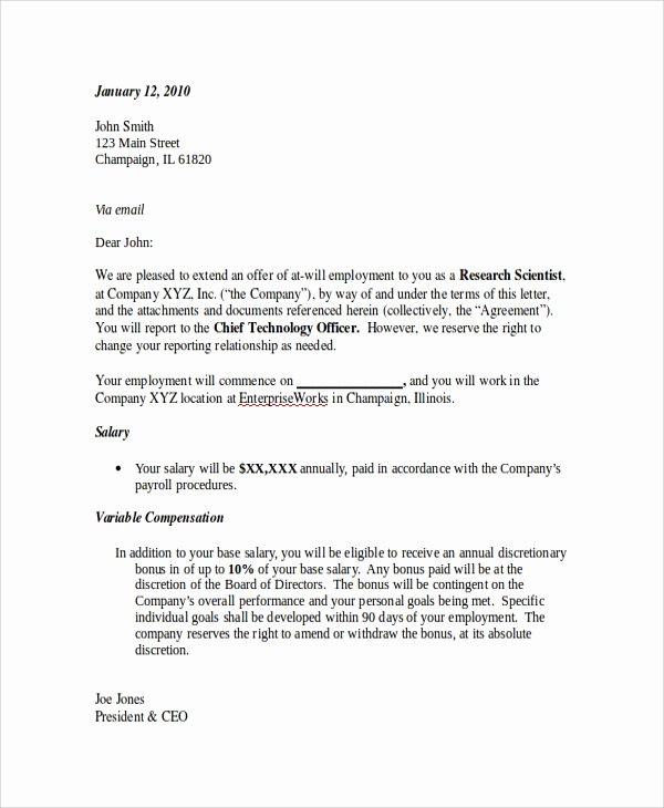 Offer Letter for Contract Employee Unique Sample Employment Fer Letter 8 Documents In Pdf Word