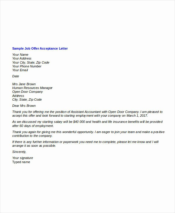 Offer Letter Sample Doc Luxury Fer Letter Templates In Doc 46 Free Word Pdf Documents Download
