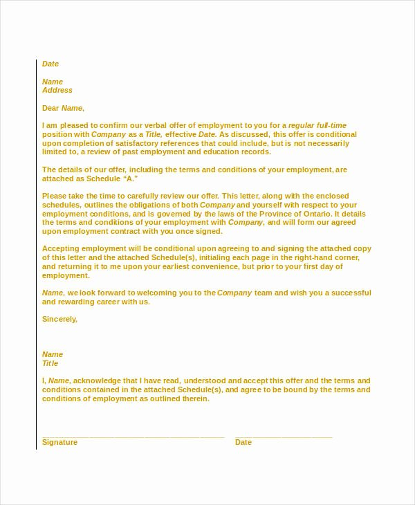 Offer Letter Sample Doc New Fer Letter Templates In Doc 58 Free Word Pdf Documents Download