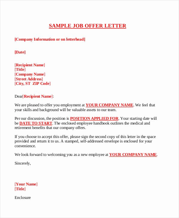 Offer Letter Sample Doc New Fer Letter Templates In Doc 59 Free Word Pdf Documents Download