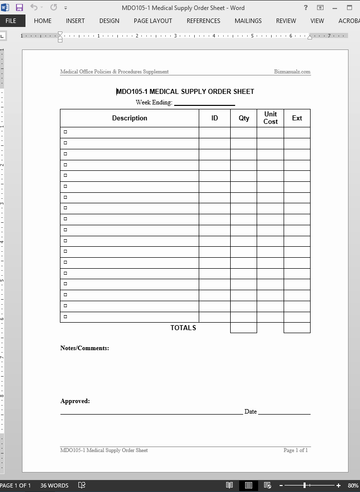 Office Supply Request form Awesome Medical Supply order Worksheet Template