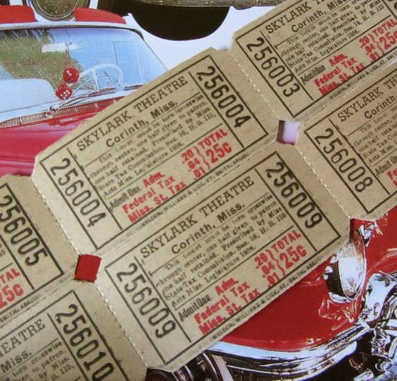 Old Fashioned Movie Ticket Awesome 1950s Drive In Movie Tickets Skylark theatre Mississippi Old Fashioned Girl