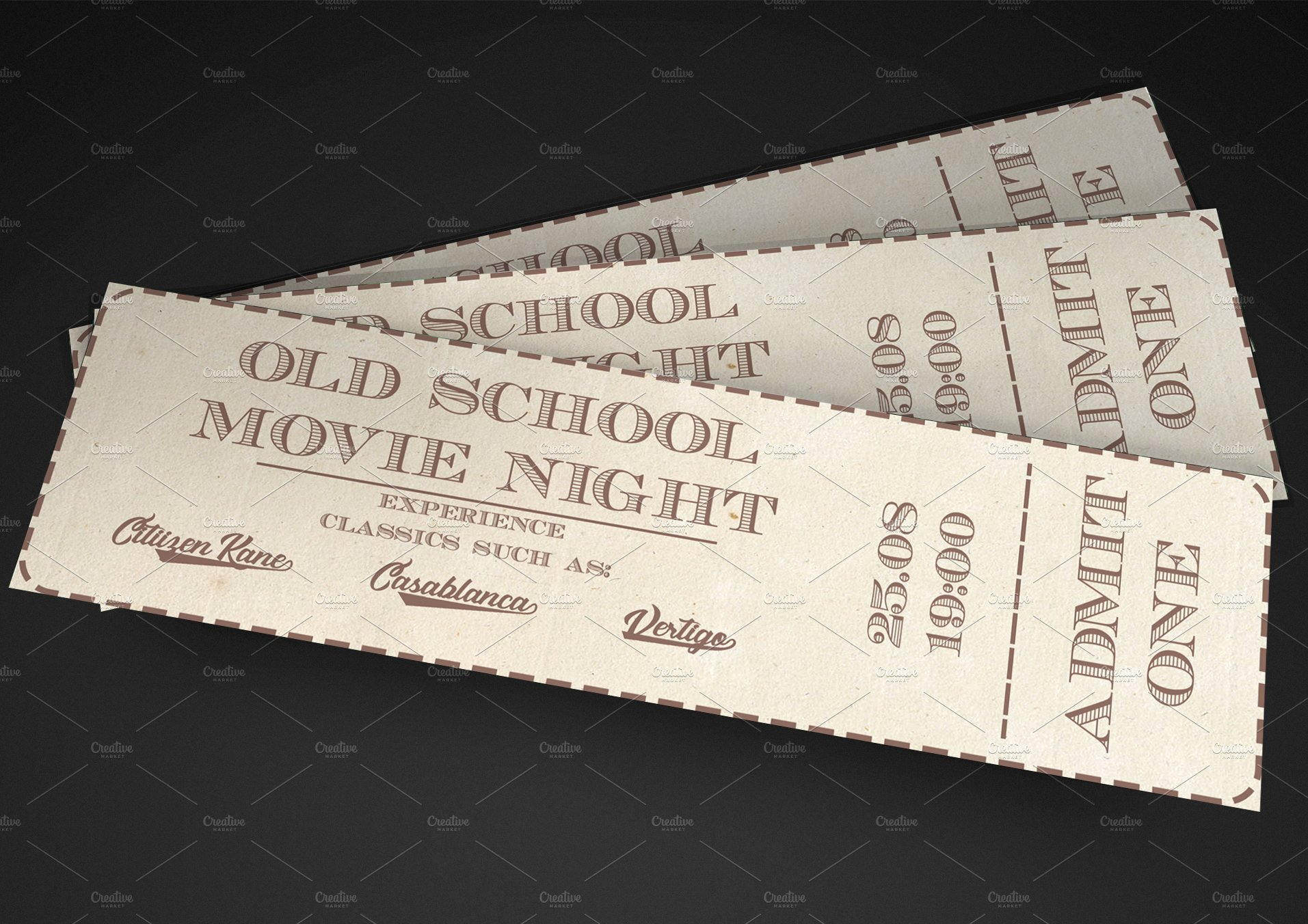 Old Fashioned Movie Ticket Elegant Old School Movie event Ticket Invitation Templates Creative Market