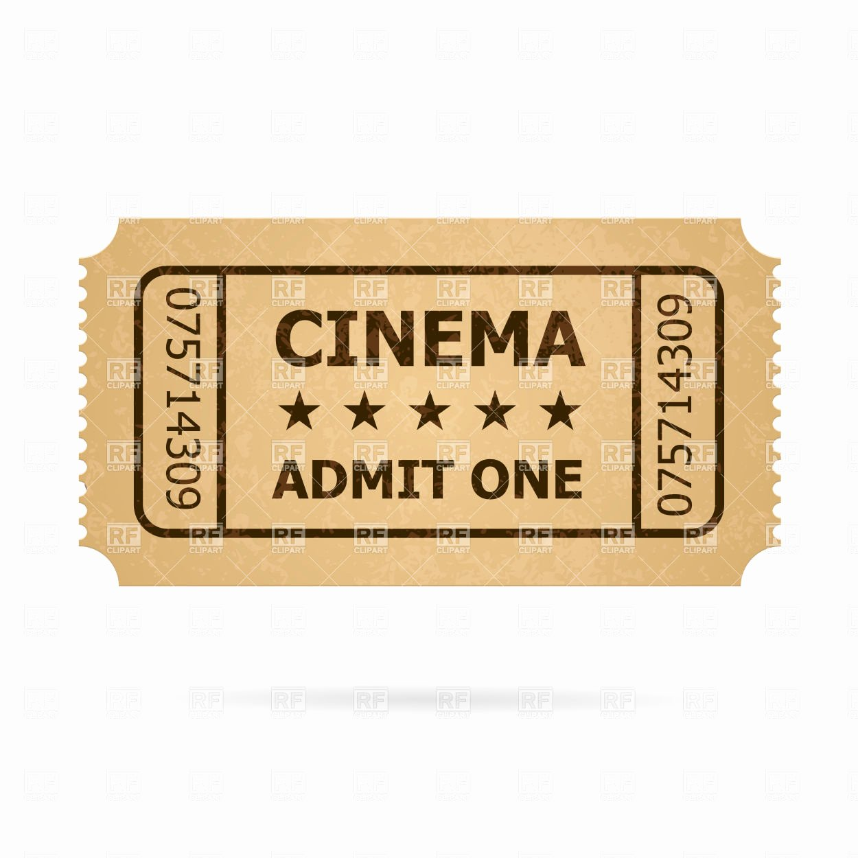 Old Fashioned Movie Ticket Inspirational Retro Cinema Cardboard Ticket Vector Image 6453 – Rfclipart