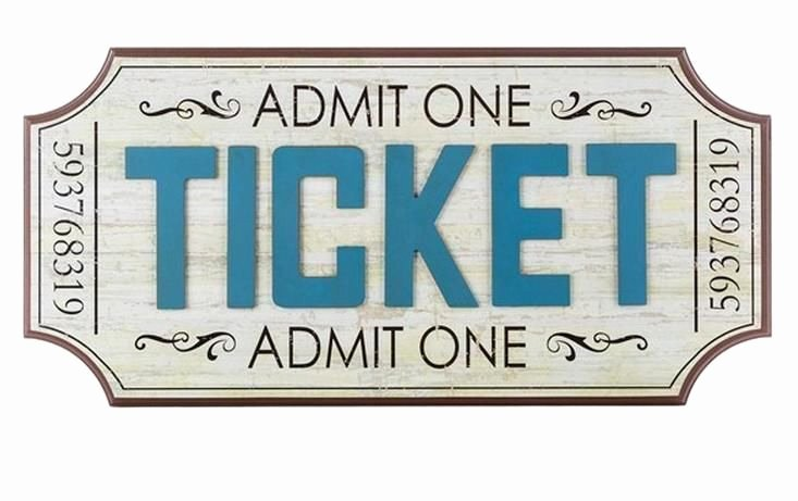 Old Fashioned Movie Ticket Unique Cream & Blue Admit E Ticket Home Movie theater Sign Vintage Room Wall Decor