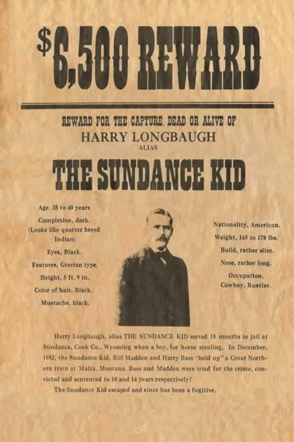 Old West Wanted Posters New Sundance Kid Reward Wanted Poster Reprod Old Wild West