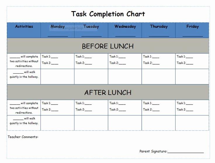 On Task Behavior Chart Elegant Task Pletion Chart Behavior