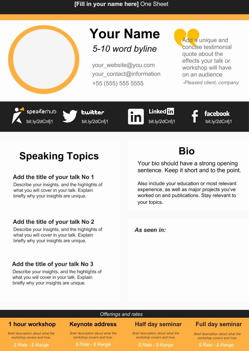 One Sheet Template Free New Speaker E Sheet Template