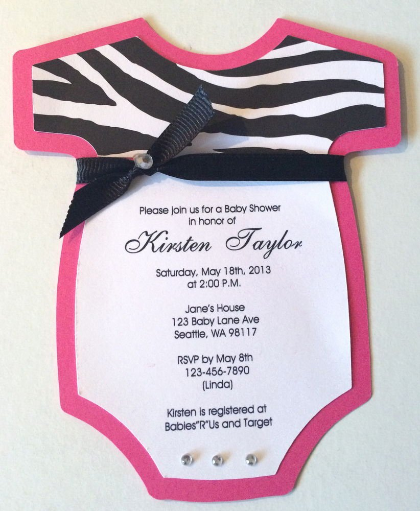 Onesie Baby Shower Invitations Template Awesome 8 Baby Girl Shower Esie Invitations Pink Zebra Print Custom Personalized