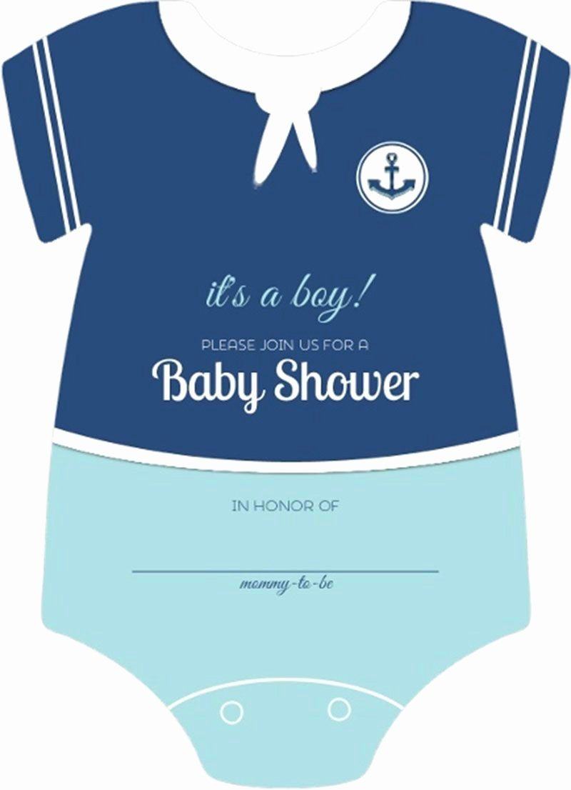 Onesie Baby Shower Invitations Template Beautiful Sailor Esie Boys Nautical themed Fill In Blank Baby Shower Invitation Template Sample Design