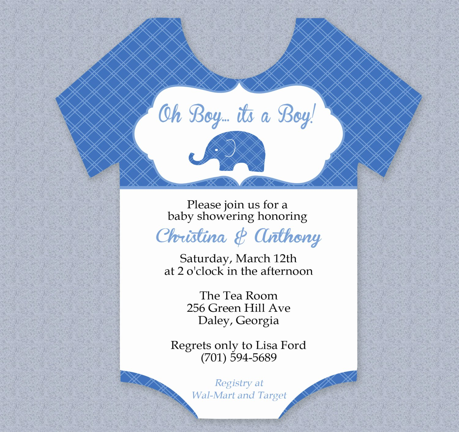 Onesie Baby Shower Invitations Template Best Of Plaid Elephant Esie Baby Shower Invitation Editable Cutout