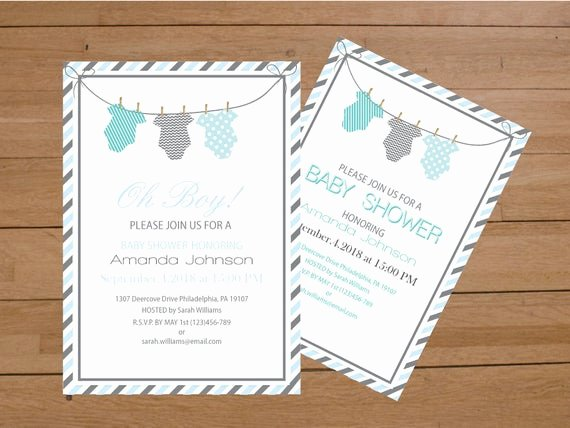 Onesie Baby Shower Invitations Template Inspirational Esie Baby Shower Invitation Template Blue & Grey Stripes