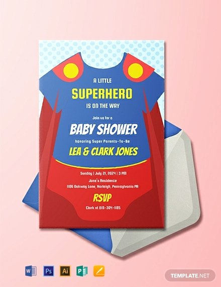 Onesie Baby Shower Invitations Template Unique Free Superhero Esie Baby Shower Invitation Template Download 820 Invitations In Psd