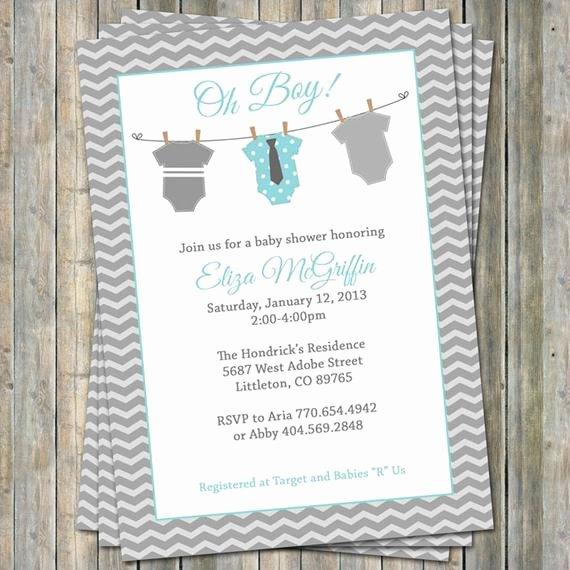 Onesie Invitation Template Printable Luxury Esie Baby Shower Invitation Oh Baby Shower Aqua and Gray