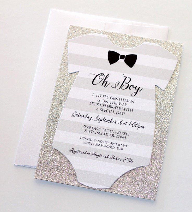 Onesie Invitation Template Printable Unique Baby Shower Esie Invitation Glitter Shower Invitation