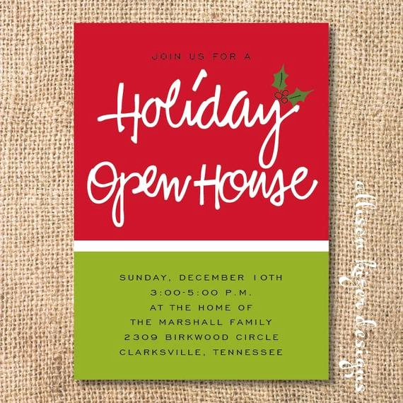 holiday open house printable invitation