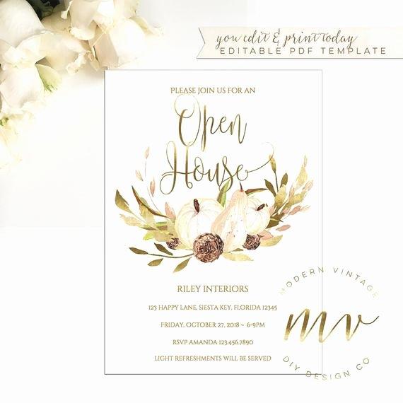 Open House Invitation Templates Free Inspirational Open House Invitation Template Fall Invite 5x7 Editable