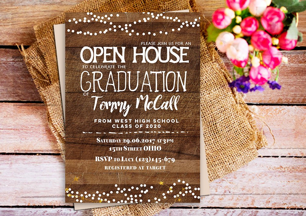 Open House Invitations Templates Best Of Open House Graduation Invitation Rustic Wood Graduation