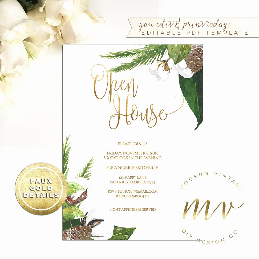 Open House Invitations Templates Best Of Open House Invitation Template 5x7 Editable Printable Invite