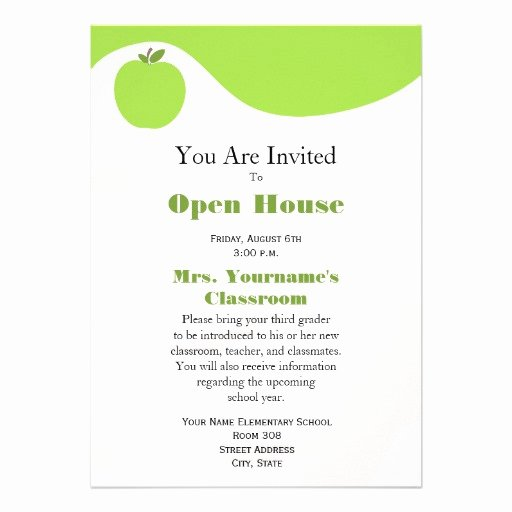 "Open House Invitations Templates Elegant Back to School Open House Invitation Green Apple 5"" X 7"" Invitation Card"
