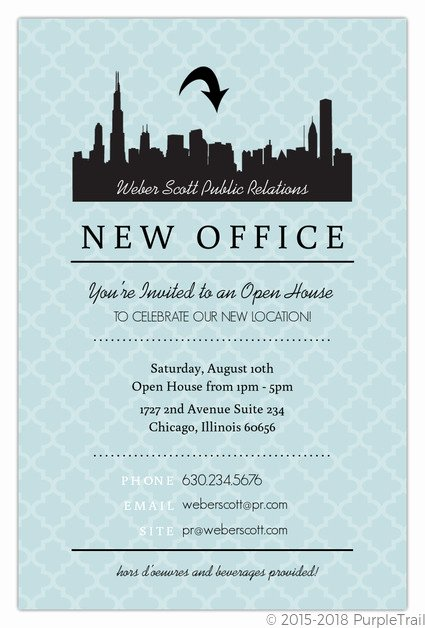 Open House Invitations Templates Lovely Blue Skyline Open House Invitation