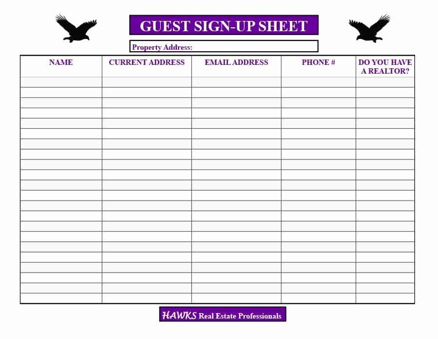 Open House Sign In Sheet Fresh 30 Open House Sign In Sheet [pdf Word Excel] for Real Estate Agent