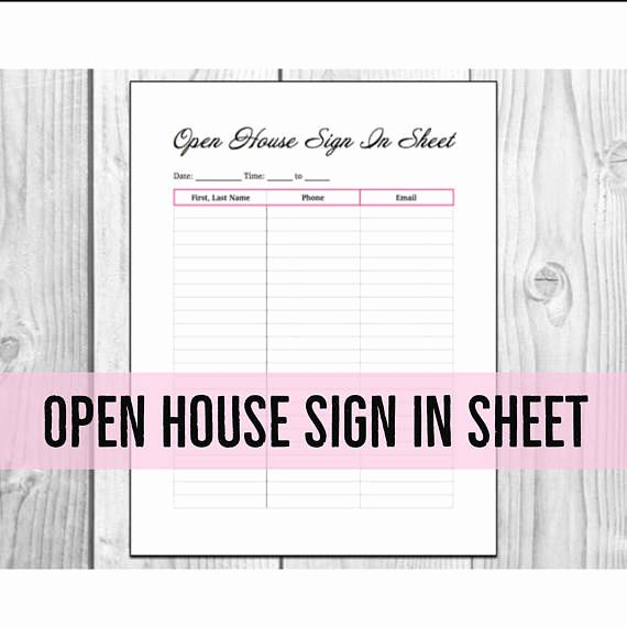 Open House Sign In Sheet Inspirational Open House Sign In Sheet Printable Pdf