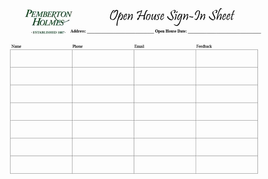 Open House Sign In Sheet Lovely 4 Free Real Estate Open House Sign In Sheet Templates [ Tips]