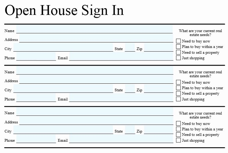 Open House Sign In Sheet Unique Open House Sign In Sheet Template for Real Estate Word & Excel Template