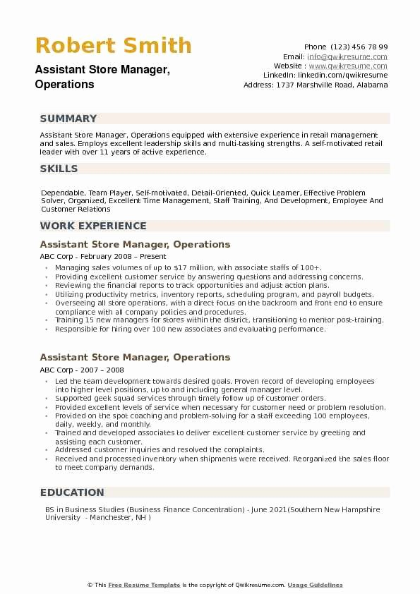 Operations Manager Resume Sample Pdf Awesome assistant Store Manager Operations Resume Samples