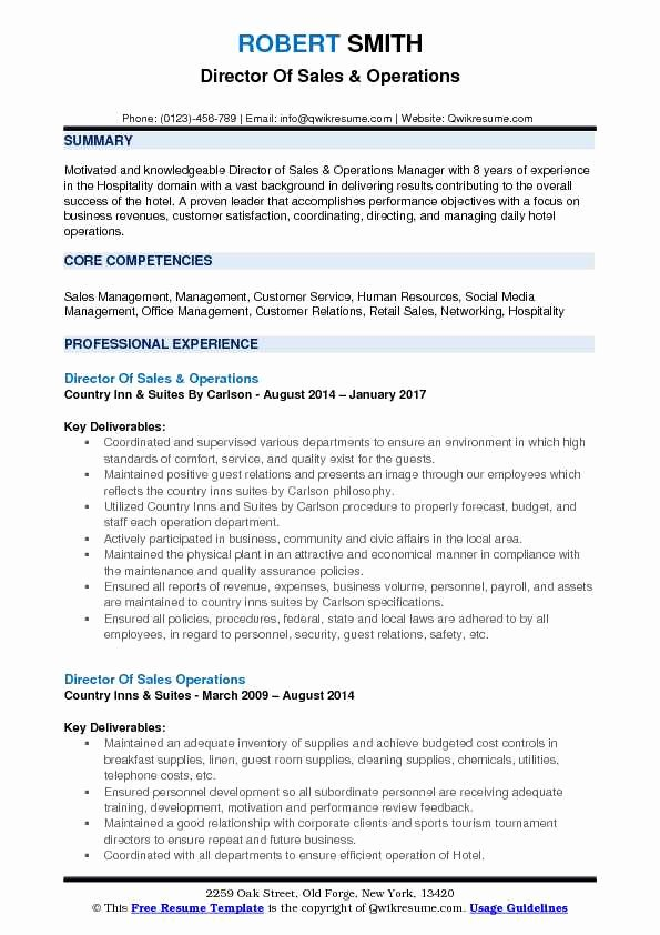 Operations Manager Resume Sample Pdf Beautiful Director Of Sales Operations Resume Samples