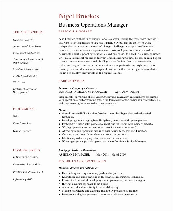 Operations Manager Resume Sample Pdf Beautiful Manager Resume Sample Template 48 Free Word Pdf Documents Download