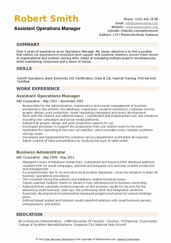 Operations Manager Resume Sample Pdf Beautiful Operations Manager Resume Samples