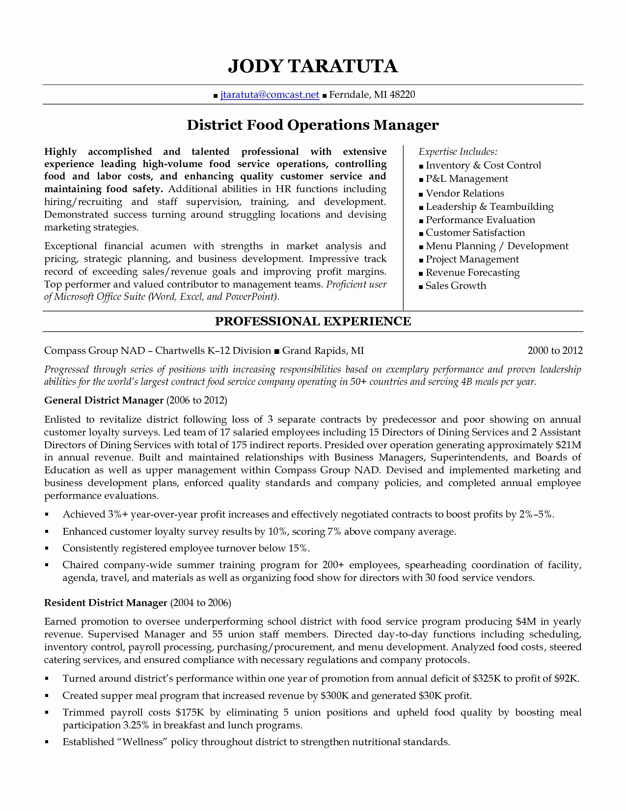 Operations Manager Resume Sample Pdf Elegant District Manager Resume